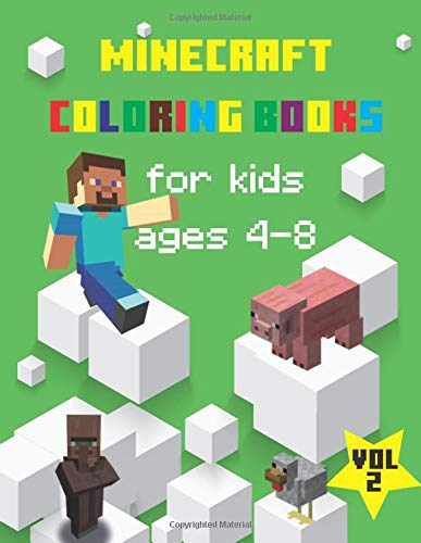 minecraft coloring books for kids ages 4-8: Fun Coloring Pages Featuri