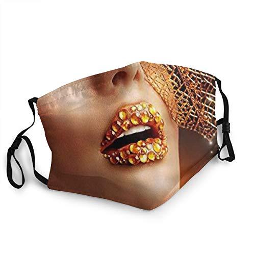 KASABULL Makeup Woman Diamond Lips Golden Leaf Neuheit Staubwaschbarer wiederverwendbarer Mund Warmes winddichtes Baumwollgesicht