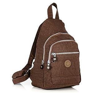 41qFevy8EXL. SS300  - Mini mochila ligera para mujer, niña, niño, mochila deportiva para ocio, bicicleta, deporte, senderismo, viaje, 6 colores, color marrón, tamaño extra-small