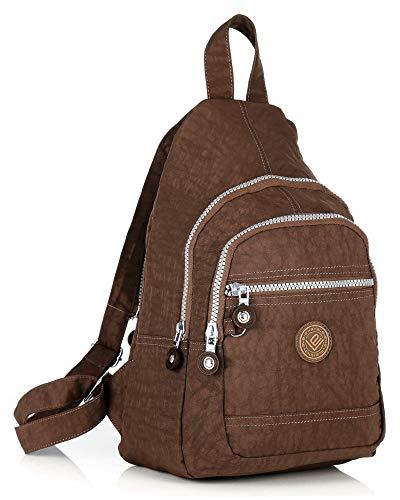 ekavale - Leichter Mini Rucksack für Mädchen Und Damen sportlicher Daypack für Freizeit Fahrrad Sport Wandern Reise 6 Farben (Braun)