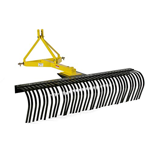 Product Image of the Titan Attachments 5-Ft Landscape Rake for Compact Tractors, Quick Hitch Compatible Tow-Behind Garden Tool