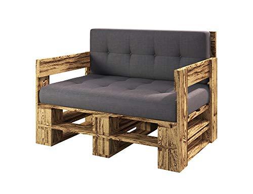 sunnypillow Palettenmöbel Gartenmöbel Set aus Holz Indoor/Outdoor Europaletten Möbel Sitzkissen fürBalkon Terrasse Garten geflammt Sofa 120 x 80 cm Höhe : 30 cm
