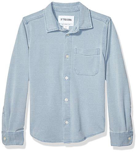 Spotted Zebra Knit Denim button-down-shirts, Light wash, Small (6-7)