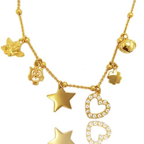 ViMon gioielli, COLLANA in ARGENTO 925 placcato ORO GIALLO,con ciondoli vari :angioletto,gufo,stella,cuore,quadrifoglio,campanellino gatto. Lunghezza Catena SU MISURA