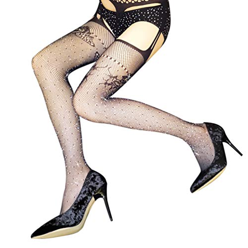 TENDYCOCO Suspender Panty Visnet Stocking Strass Diamant Antihaak Stretchy Hollow Out Panty Tights Hosiery Voor Vrouw Meisje Lady (Zwart)