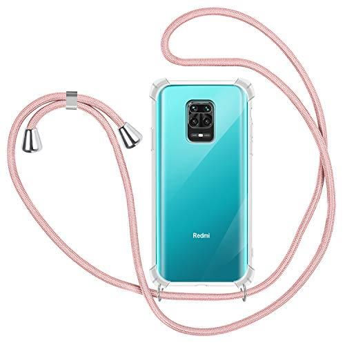 SAMCASE Funda con Cuerda para Xiaomi Note 9S/ Note 9 Pro/Note 9 Pro MAX, Carcasa Transparente TPU Suave Silicona Case con Correa Colgante Ajustable Collar Correa de Cuello Cadena Cordón - Oro Rosa