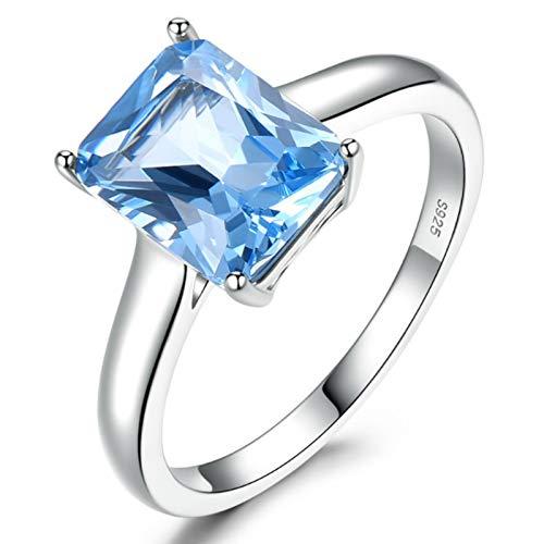XIRENZHANG Anillo de plata de ley S925 para mujer, color aguamarina, simple, anillo de compromiso, azul n.º 6