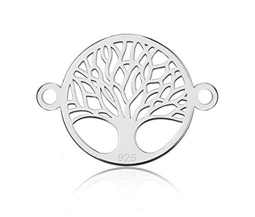 Sadingo Plata de ley 925, árbol de la vida, 1 unidad, 12,2 x 16,8 mm, grosor 0,4 mm, color a elegir, color: plata