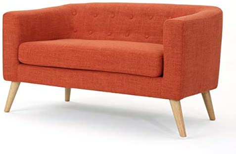 Best Christopher Knight Home Bridie Mid-Century Modern Loveseat, Muted Orange Fabric