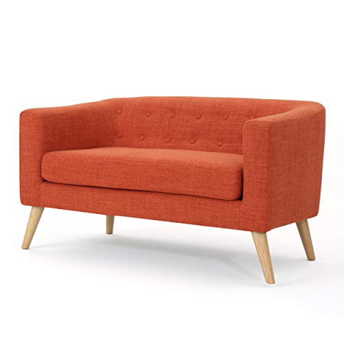 Christopher Knight Home Bridie Mid-Century Modern Loveseat, Muted Orange Fabric