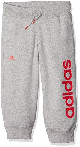 adidas Mädchen Essentials Linear 3/4 Hose, Medium Grey Heather/Ray Red, 140