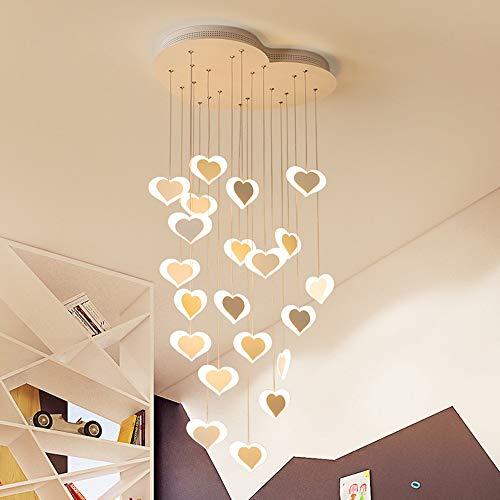Plafondlamp voor kinderkamer prinses slaapkamer romantische hartvorm LED-lamp kroonluchter creatief lief meisje slaapkamer restaurant thematische kleuterschool 45 x 35 cm warm licht Een