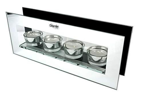 TrendHome Deko Teelichthalter 3D Spiegel - Kerzenständer Harmony Spiegel Aus Glas Infinity Box Magic Mirror Spiegel Für Optische Täuschung