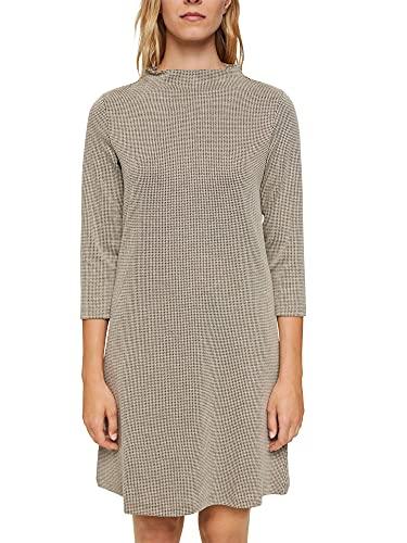 ESPRIT Recycelt: Jerseykleid mit Hahnentritt-Muster