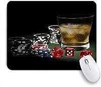 NIESIKKLAマウスパッド カジノカラフルポーカーチップジェットンレッドサイコログラスのアイス酒 ゲーミング オフィス最適 高級感 おしゃれ 防水 耐久性が良い 滑り止めゴム底 ゲーミングなど適用 用ノートブックコンピュータマウスマット