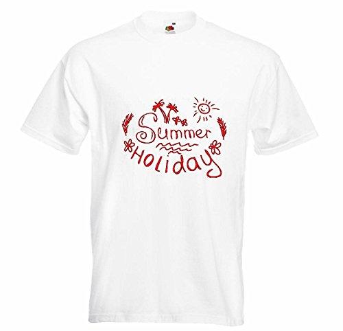 T-shirt, voor de zomer, vakantie in het zuiden van de zon, hangmat, stoelbekleding in wit