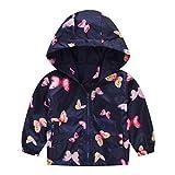 MRULIC Kinder Mädchen Jungen Floral Bedruckter Frühling mit Kapuze Licht Mantel Reißverschluss Jacke Tops Sonnenschutz Kleidung 1-6 Jahre(C-Marineblau,110-120CM)