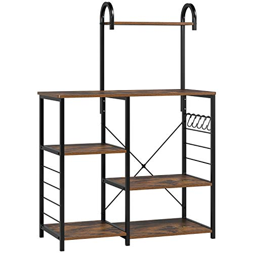 Homfa Kitchen Baker's Rack with High Shelf, Vintage Microwave Stand Utility Storage Shelf Kitchen Island Rack 3-Tier and 4-Tier Multipurpose Organizer Workstation with 5 Hooks, 35.4Lx15.7Wx52H inch