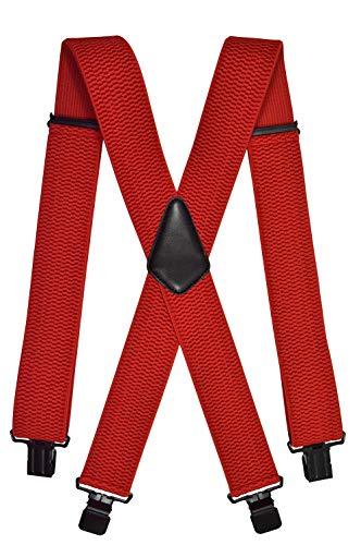 Olata Extra Lange, Extra Breite XXL Hosenträger X-Form mit 4 Starken Schwarz Clips, Stark Stoff - 5cm. Rot