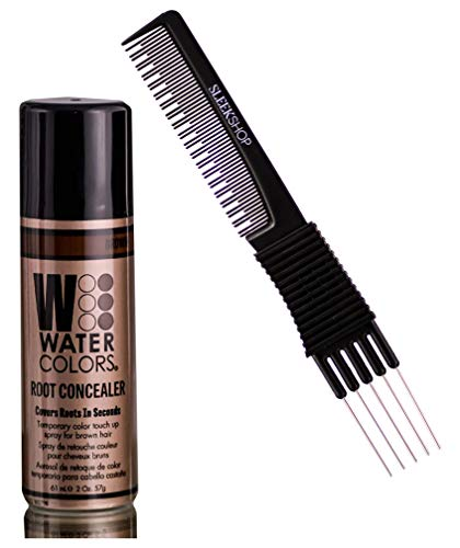 Watercolors Color Root Concealer, Covers Hair Roots in Seconds, Temporary Haircolor Touch Up Spray Dye (w/ Sleek Premium Carbon Heat-Resistant Multi-Use Teasing Comb) Grey Water Colors Gray Cover Up Hairspray (BROWN)