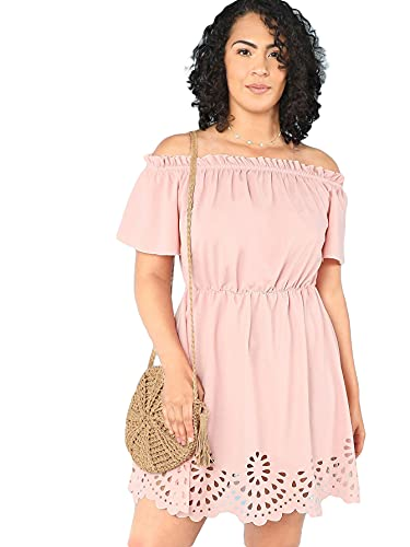 Romwe Women's Plus Size Off The Shoulder Hollowed Out Scallop Hem Party Short Dresses Pink 2X Plus