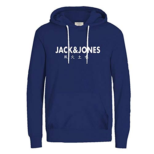 JACK & JONES Herren Hoodie Kapuzenpullover Sweatshirt Pullover Print Streetwear (Medium, Surf The Web)