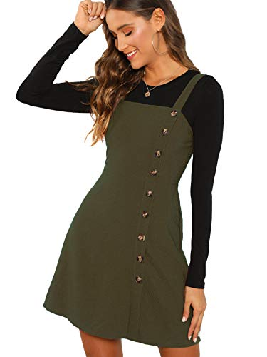Verdusa Women's Button Front Pinafore Overall Dress Army Green XS
