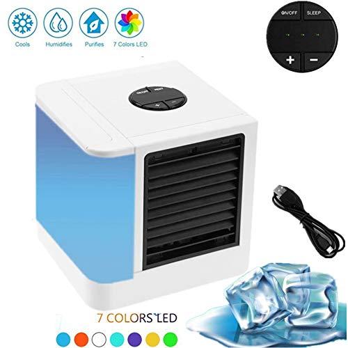 Mobile Klimagerät, Mini Luftkühler 3 in 1 Luftkühler Ventilator Air Cooler 7 Farben LED Persönliche Klimaanlage für Zuhause, drinnen, Küche, im Freien (Weiß)