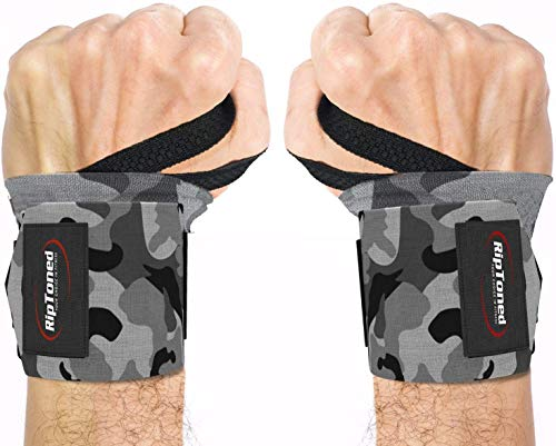 Rip Toned Wrist Wraps - 18' Professional Grade with Thumb Loops - Wrist Support Braces - Men & Women - Weight Lifting, Crossfit, Powerlifting, Strength Training (Gray Camo – Stiff)