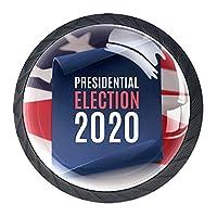 キャビネットノブ4個クリスタルガラスプルハンドル大統領選挙2020ポスター 家具のドアまたは引き出しを開く場合
