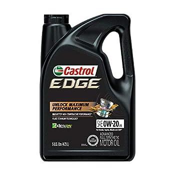 Castrol 03124 Edge 0W-20 Advanced Full Synthetic Motor Oil 5 Quart