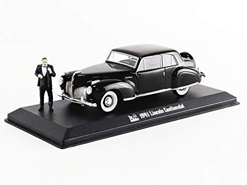 Greenlight - 86552 - Modelo DieCast El Padrino 1941 Lincoln Continental y Figura Don Vito Corleone 4cm Original Godfather - Negro - Escala 1/43 12cm