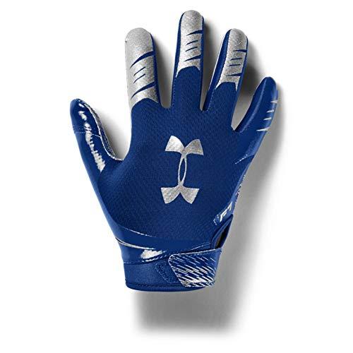 Under Armour Boys' F7 Youth Football Gloves , Royal Blue (400)/Metallic Silver , Youth Medium
