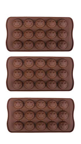 POPBLOSSOM 3 Pack X Smiley Face Emoji Ice Cube Chocolate Soap Tray Mold Silicone Party Maker (Ships from USA)