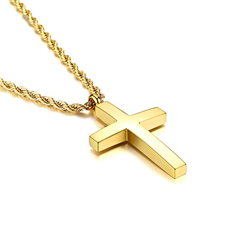 Molike Jewelry Mens Womens Stainless Steel Cross Pendant Necklace Twist Rope Chain, 20-22 Inch (Gold Pendant + 20'' Twist Rope Chain)