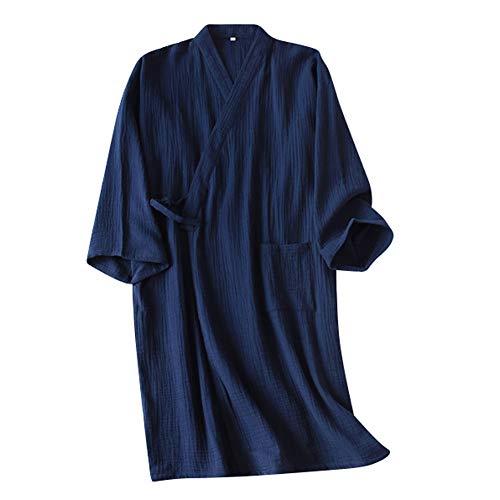 Bademantel Herren Japanischer Kimono Morgenmantel Lang Pyjamas Baumwolle Saunamantel Nachtwäsche Schlafanzug Robe Negligee Nachthemd V-Ausschnitt Lingerie Locker Sleepwear mit Tasche (Dunkelblau B)