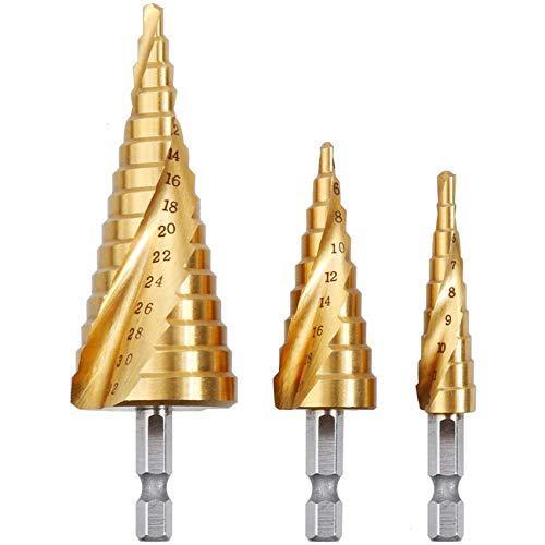 Rovtop Kit 3 Punte Coniche in Acciaio HSS per Trapano in Acciaio HSS, Punte Trapani 3 Pezzi di 4-12/20 / 32mm