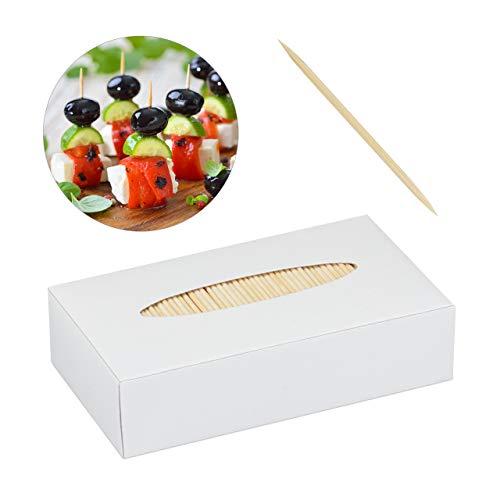 Relaxdays Zahnstocher Holz 5000er Set, Zahnhölzer dünn, für Zahnhygiene, Häppchen & Basteln, Zahnhölzchen, 6,5 cm, natur
