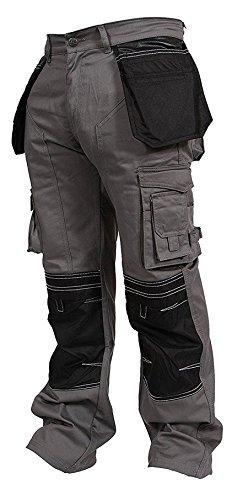 Newfacelook Mens Cargo Trousers Working Pants Cordura Knee Pockets, Grey, 38W x 34L