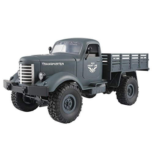 Hisoul JJRC Q61 RC 1/16 2.4G 4WD Tracked Off-Road Military Remote Control Car Truck Rock Crawler Army Car (blue)
