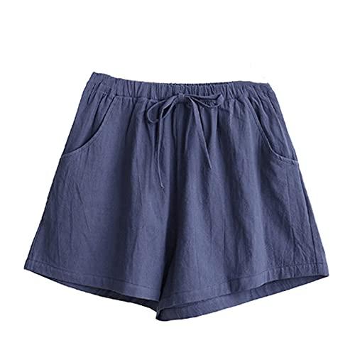 N\P Damen Shorts Sommer Baumwolle und Leinen Shorts Übergröße Mid Waist, Nacy, Medium