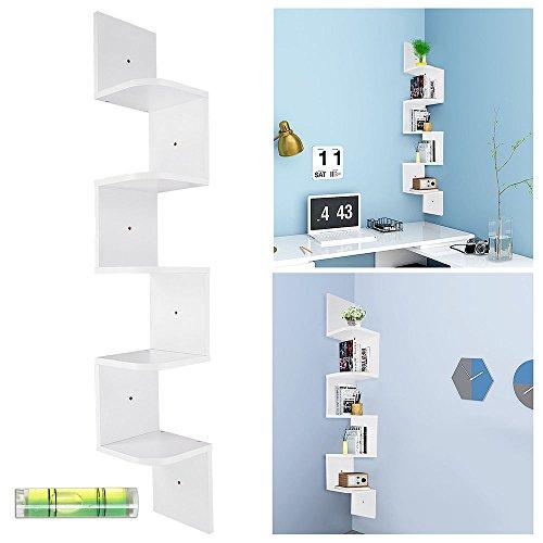 Yescom 5 Tiers Zig Zag Floating Wall Mount Corner Shelf Display Shelves Storage Organizer with Gradienter White