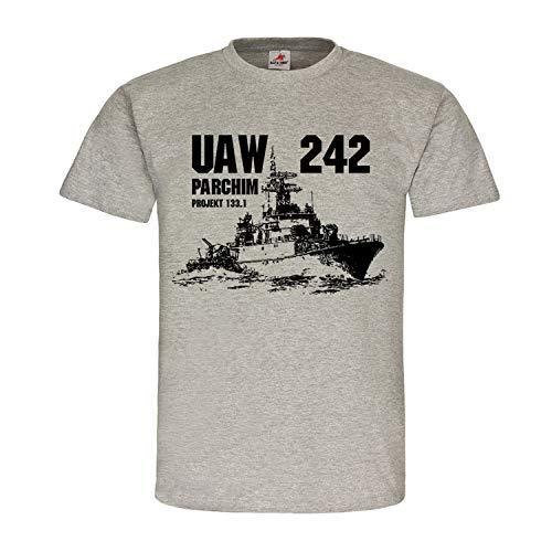 UAW 242 Parchim DDR Schiff NVA Volksmarine Boot Besatzung Dienstzeit Hemd T-Shirt #24260, Größe:XXL, Farbe:Grau