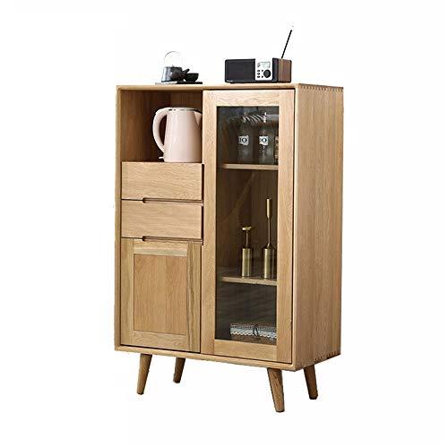 NBNBN Massives Holz Sideboard Modernes hölzernes Küchenbuffet Sideboard-Eingang-Service-Schließfach mit Gleitschublade Multi Compartment Display (Farbe : Wood, Size : 80x40x122cm)