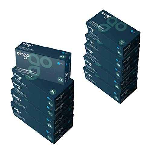 Oingo Non-Sterile Nitrile Disposable Gloves - Non-Textured, Powder Free Nitrile Gloves - Liquid-Proof, Latex Free Gloves for Professional and Home Use, Case of 10 Boxes, 1000 Pcs, Size XL