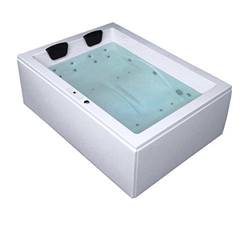 Whirlpool Badewanne Rechteck - Sylt Premium 2 Personen Made in Germany Whirlwanne Indoor NEU (190x140x66 cm)