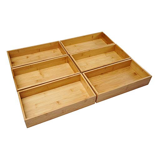 Aviboo Cabinet Drawer Organizer and Storage Tray Box Dividers Set Made of Bamboo Wood Multipurpose Holder for Craft Sewing Office Bathroom Kitchen 6 59x118x22 inch