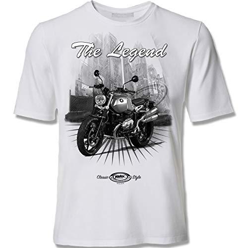 youtex R-Nine Scrambler Bike Motorrad Black&White T-Shirt (XL)
