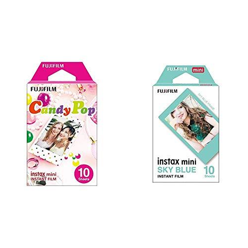 Fujifilm Instax Mini Candy Pop - Película instantánea + m Instax Mini Blue - Película instantánea
