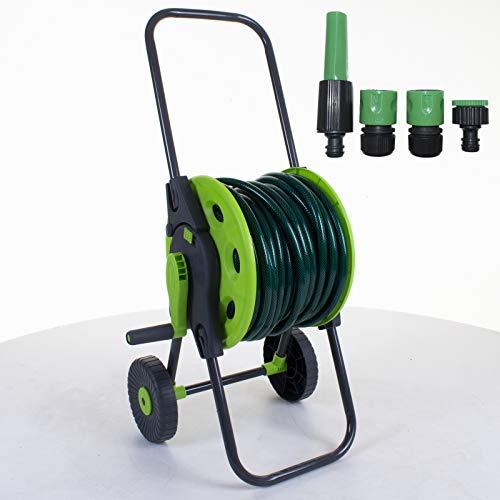 Marko Gardening Hose Reel Cart Trolley Garden Outdoor Hosepipe Water Pipe Portable Freestanding (Hose Cart with 15M Hose Kit)